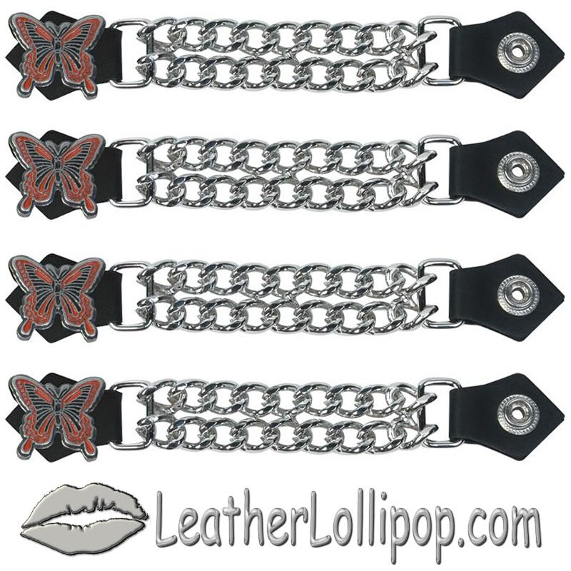 Set of Four Butterfly Vest Extenders with Chrome Chain - SKU AC1048-DL