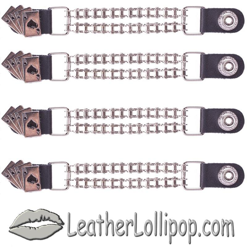 Set of Four Deadmans Hand Vest Extenders with Chrome Motorcycle Chain - SKU AC1046-BC-DL