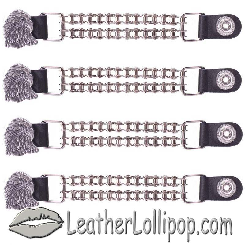 Set of Four Eagle Vest Extenders with Chrome Motorcycle Chain - SKU AC1066-BC-DL