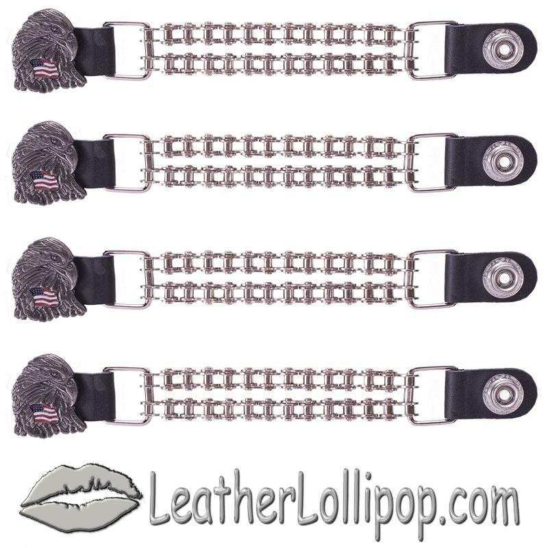 Set of Four Eagle With USA Flag Vest Extenders with Chrome Motorcycle Chain - SKU AC1083-BC-DL