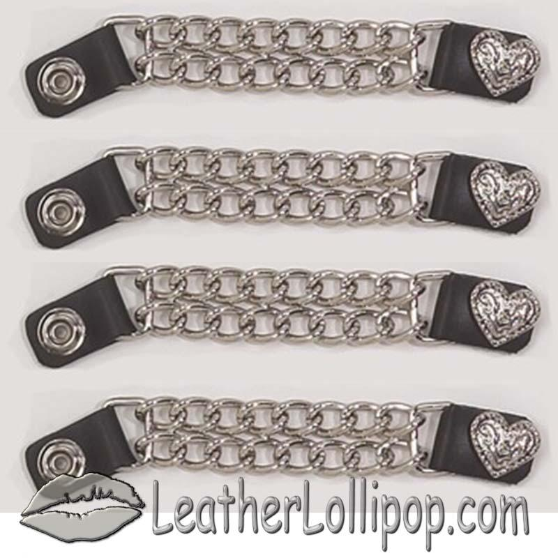 Set of Four Fancy Heart Vest Extenders with Chrome Chain - SKU AC1078-DL