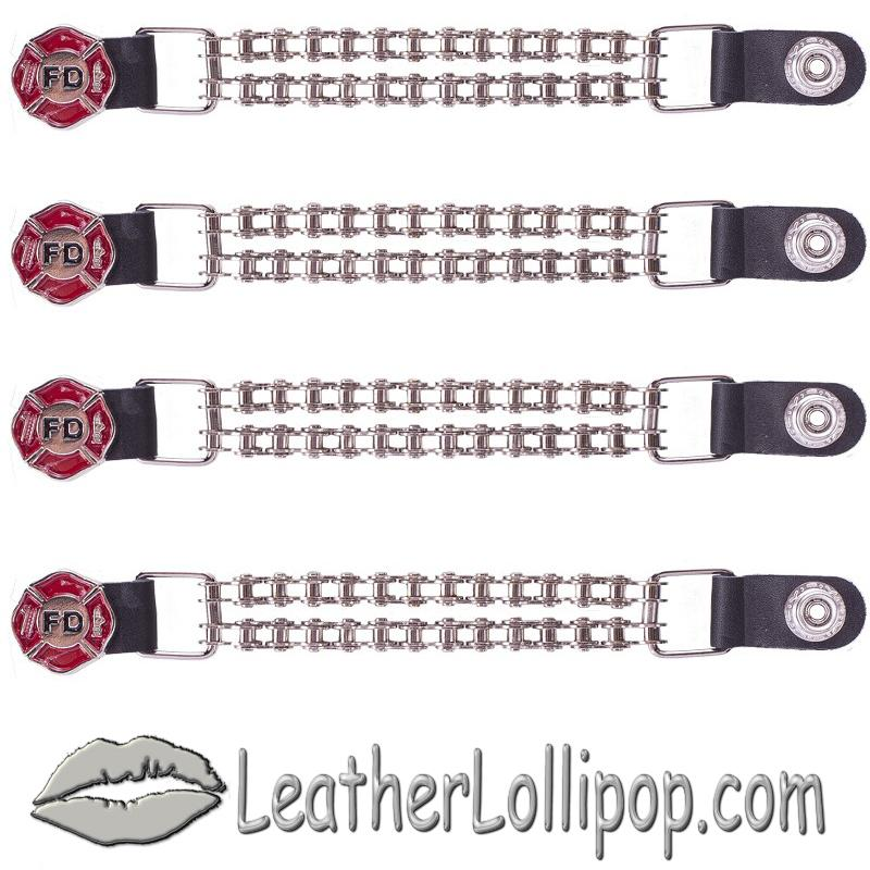 Set of Four Fire Department Vest Extenders with Chrome Motorcycle Chain - SKU AC1097-BC-DL