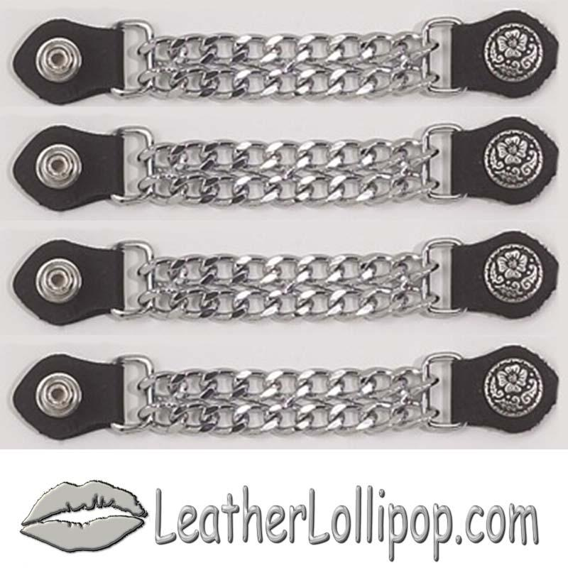Set of Four Flower and Petals Vest Extenders with Chrome Chain - SKU AC1076-DL