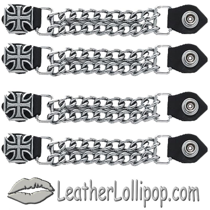Set of Four Iron Cross Vest Extenders with Chrome Chain - SKU AC1053-DL