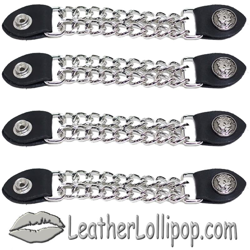 Set of Four Lady Liberty Silver Dime Vest Extenders with Chrome Chain - SKU AC1073-DL