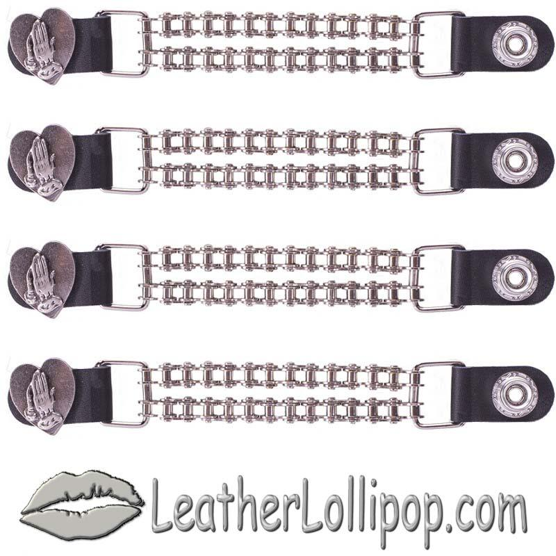 Set of Four Praying Hands Inside Heart Vest Extenders with Chrome Motorcycle Chain - SKU AC1062-BC-DL