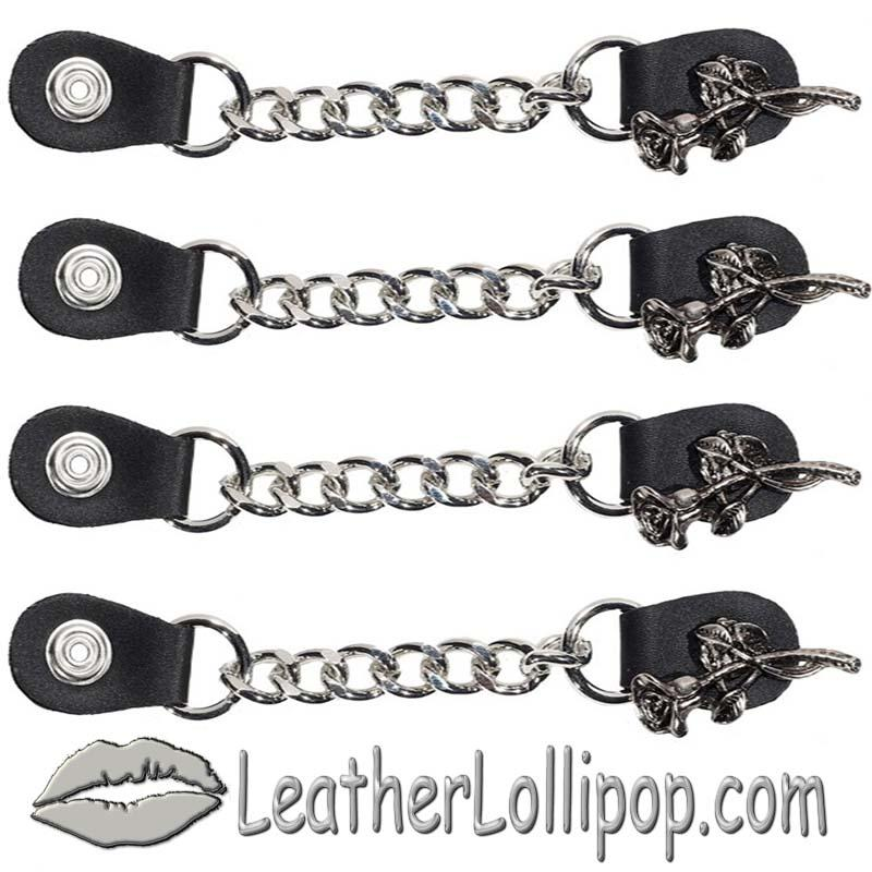 Set of Four Rose and Stem Vest Extenders with Single Chrome Chain - SKU AC1070-DL