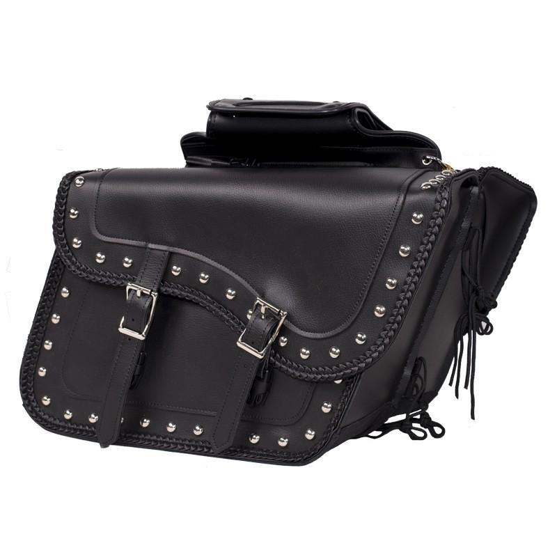 Slanted Black PVC Motorcycle Saddlebags with Studs - SKU SD4054PV-DL
