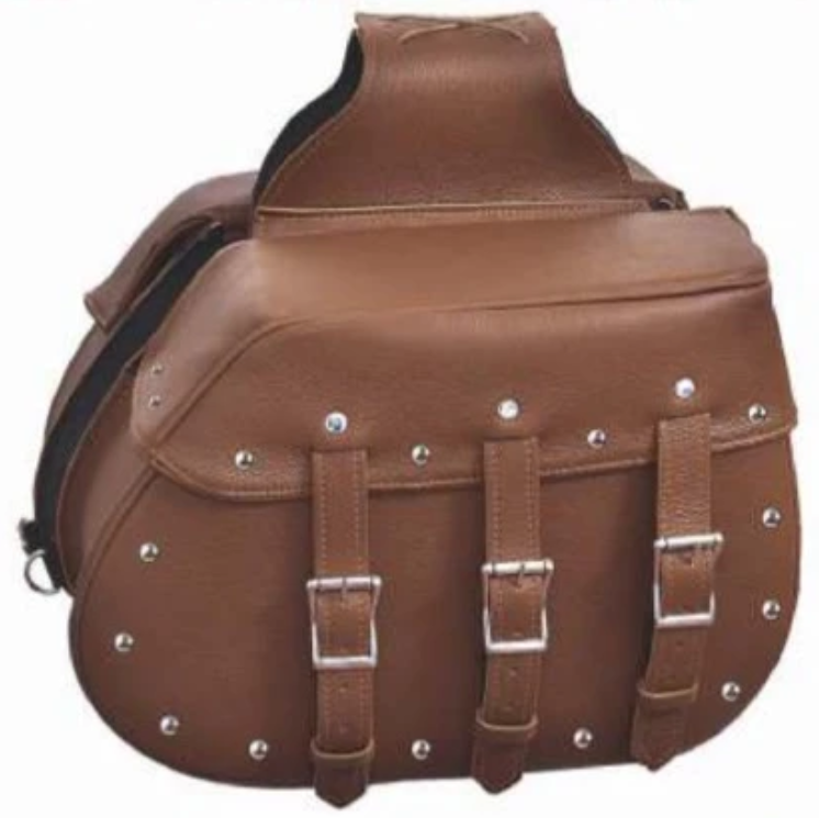 UNIK Brown Leather Saddle Bags with Studs - SKU 9351-ZP-UN
