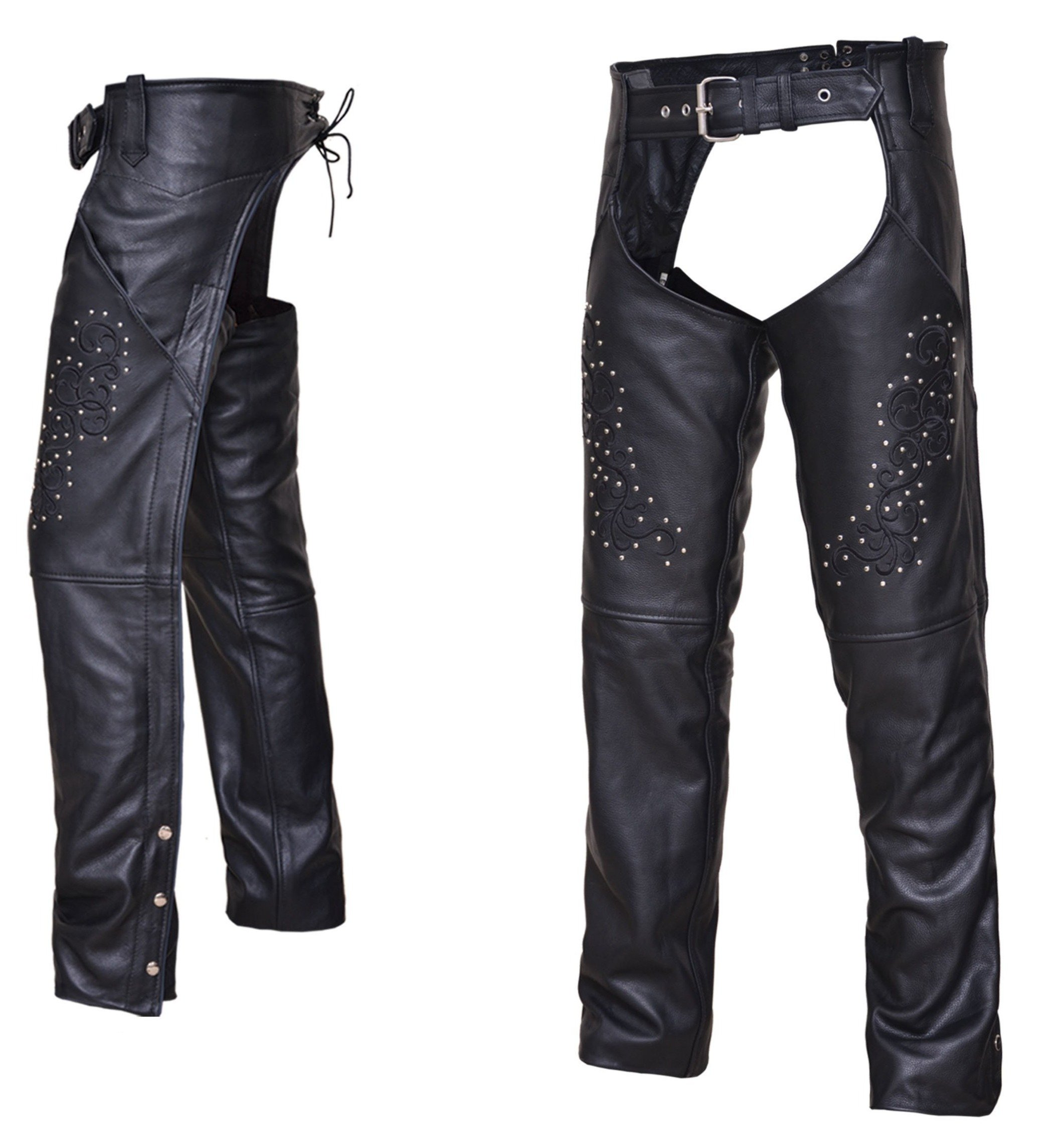 UNIK Ladies Premium Leather Motorcycle Chaps With Studs - SKU 7177-RF-UN