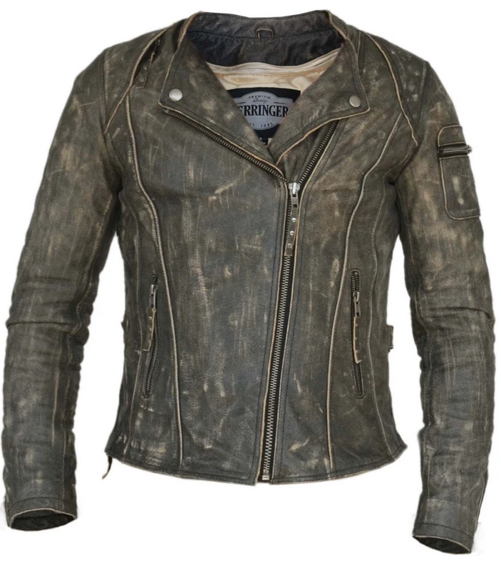 UNIK Ladies Premium Leather Motorcycle Jacket in Crispy Brown - SKU 6847-CR-UN