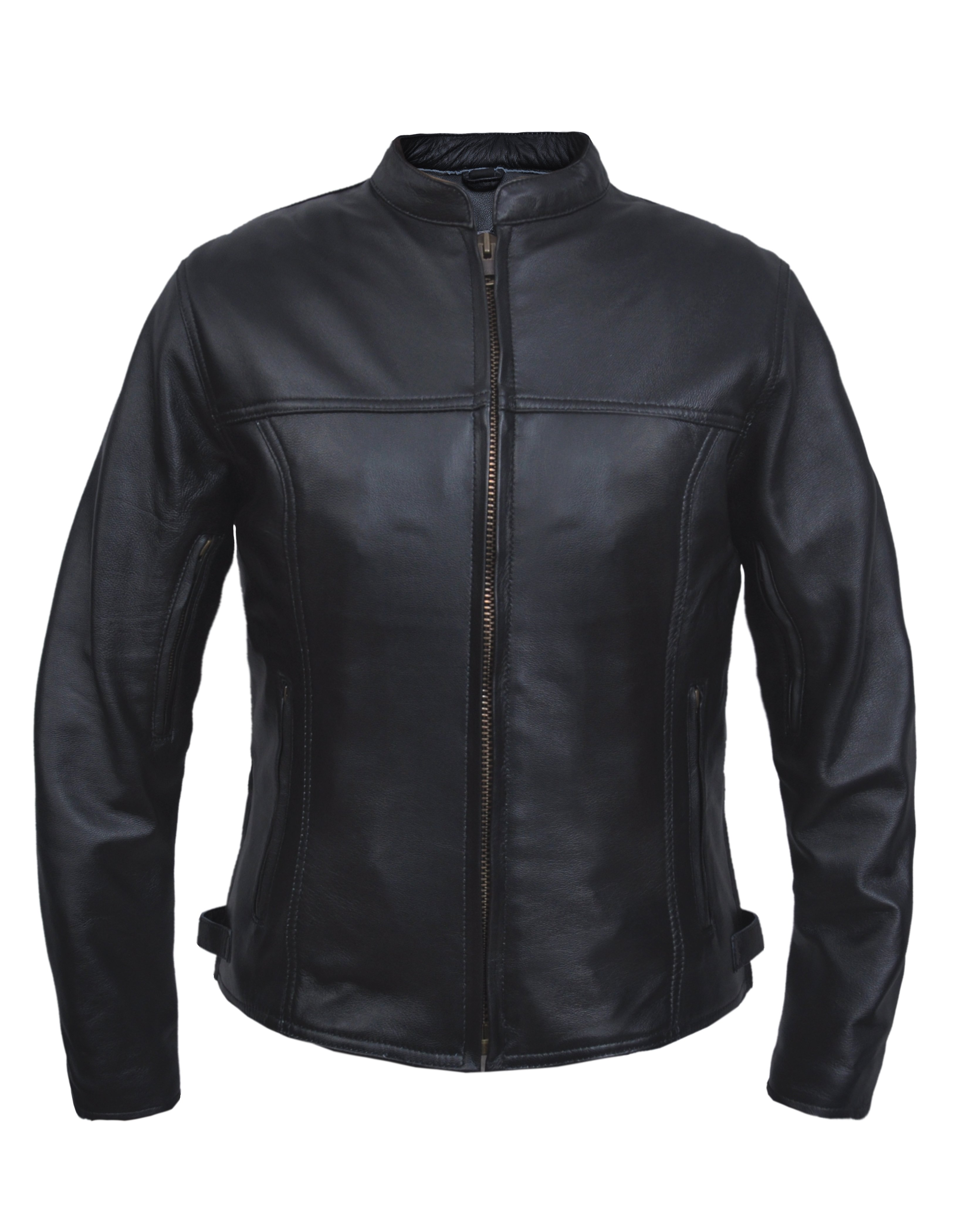 UNIK Ladies Premium Lightweight Leather Motorcycle Jacket - SKU 6557-NG-UN