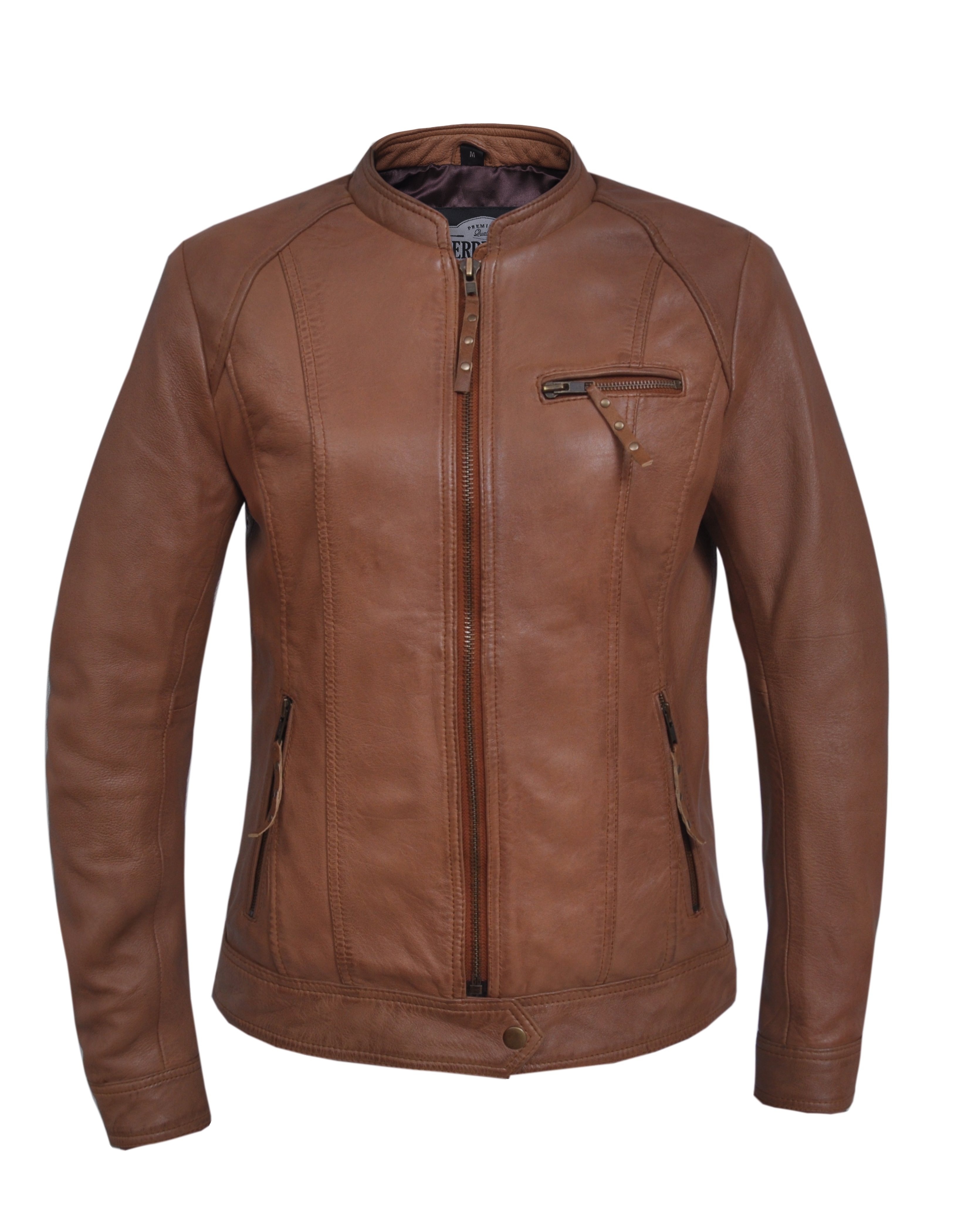 UNIK Ladies Tan Leather Jacket - SKU 6849-TAN-UN