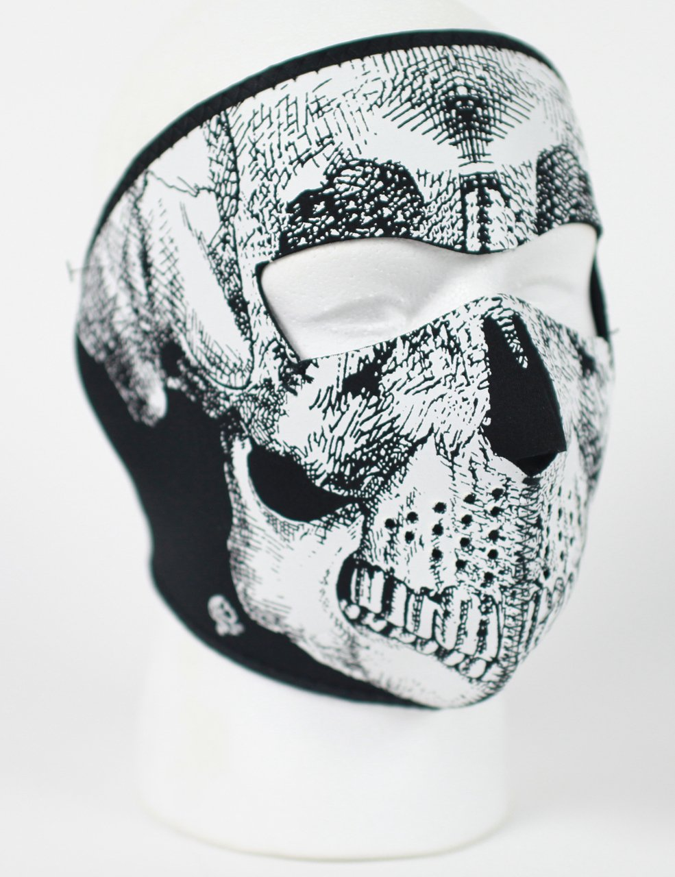 Black and White Skull Neoprene Full Face Mask - SKU FMA10-WNFM002-HI