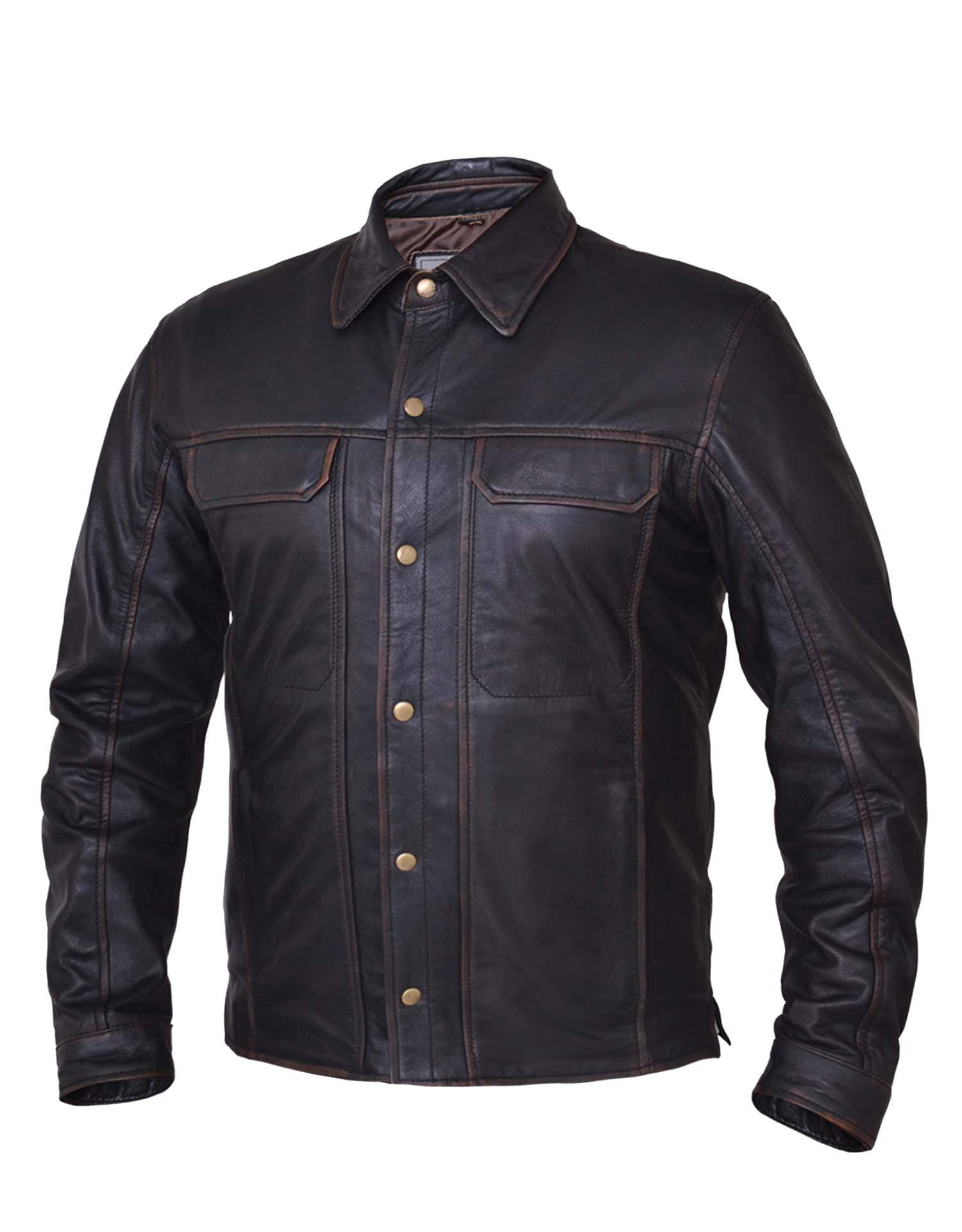 UNIK Men's Colorado Brown Leather Shirt