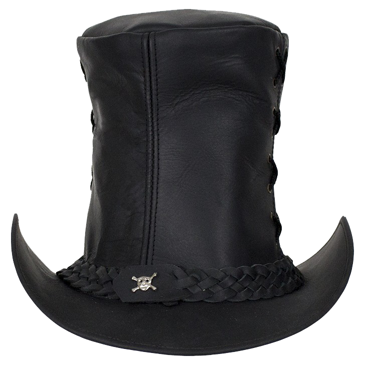 Black Leather Top Hat with Chrome Skull - SKU HAT14-11-DL