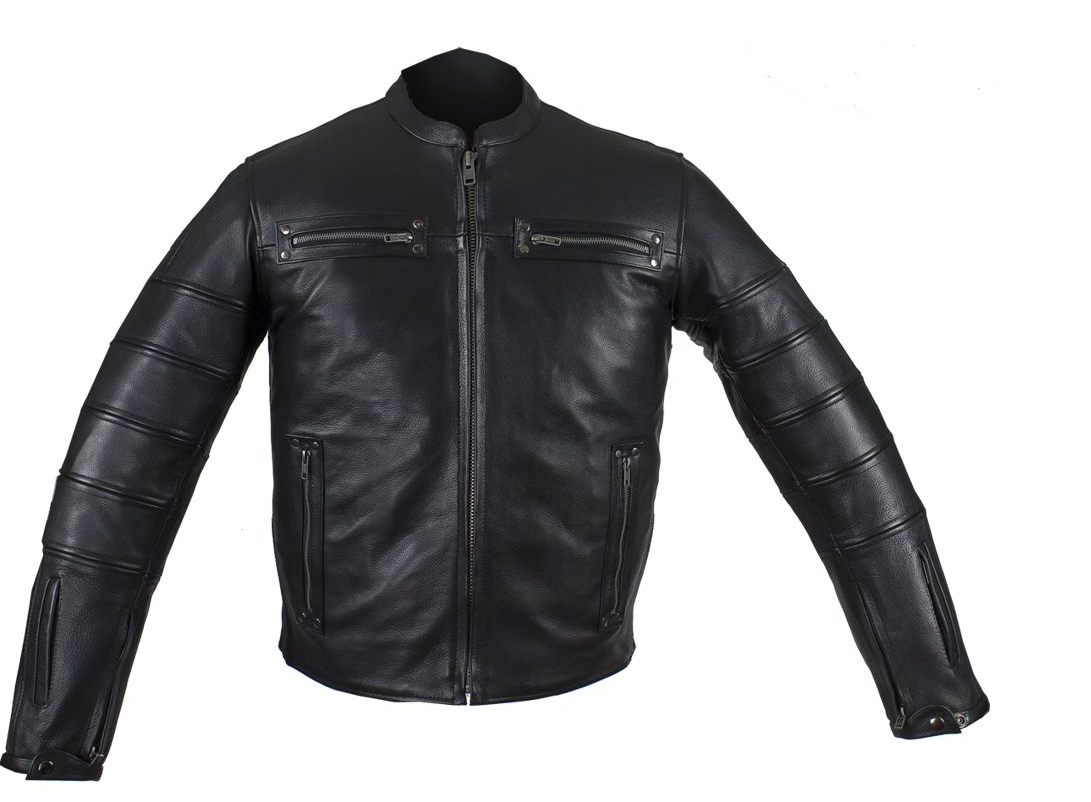 Black Pleated Racer Leather Jacket with Concealed Carry Pockets - SKU MJ828-DL