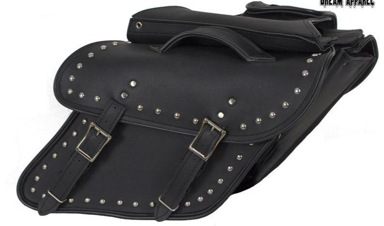 Black PVC Motorcycle Saddlebags With Studs For Harley Davidson Dyna - SKU SD4088-DYNA-STUD-PV-DL
