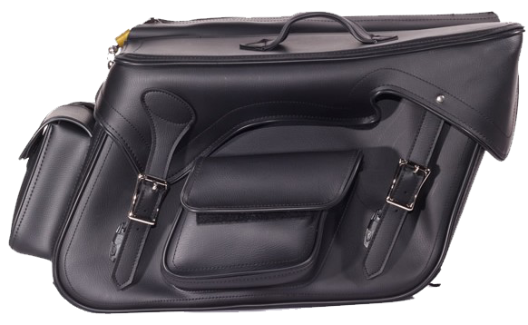 Black PVC Motorcycle Slanted Saddlebags with Pockets - SKU SD4085-NS-PV-DL
