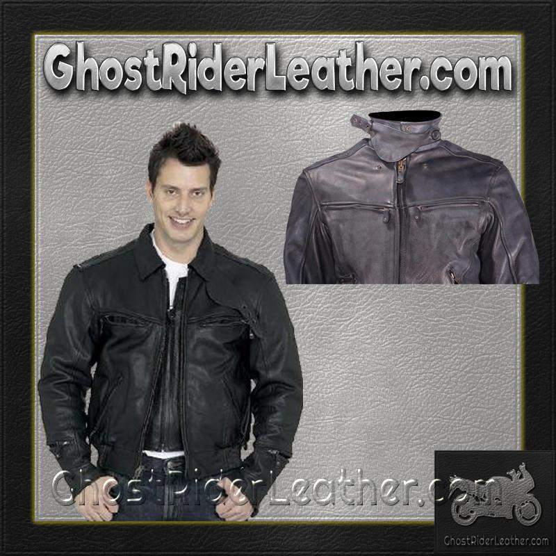 Vented Racer Leather Jacket with Convertible Collar / SKU MJ786-DL