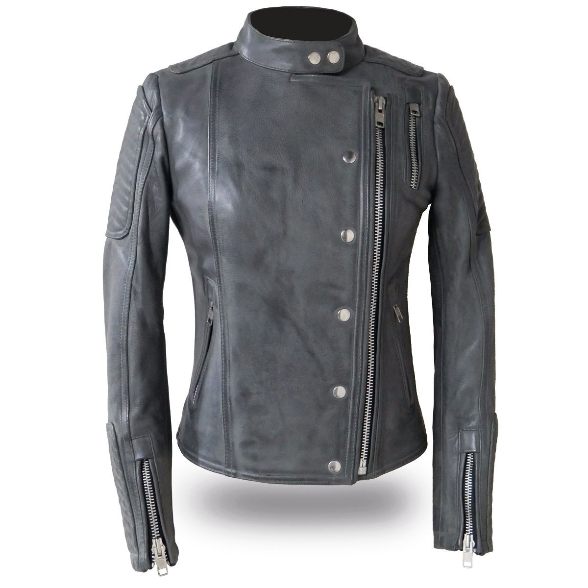 Warrior Princess - Women's Black or Gray Leather Scooter Jacket - FIL187CJZ