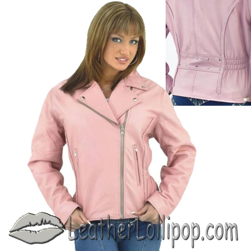 Womens Pink Leather Motorcycle Jacket - SKU LJ710PINK-DL