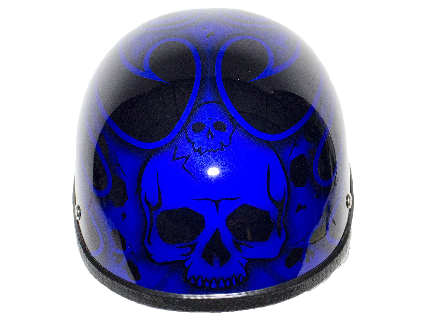 Blue Burning Skull Novelty Motorcycle Helmet - SKU H401-D4-BLUE-DL