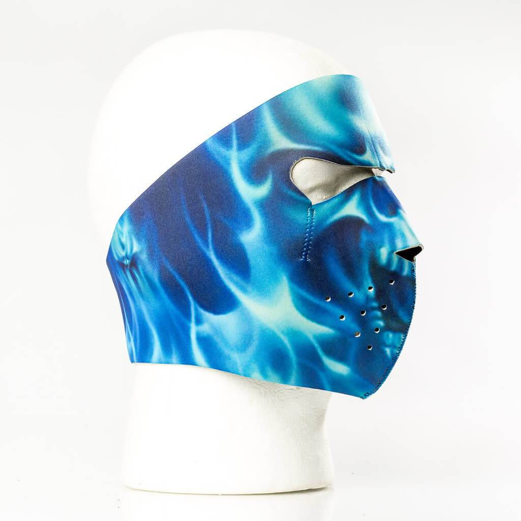 Blue Skull Flame Neoprene Full Face Mask - SKU FMY15-HI