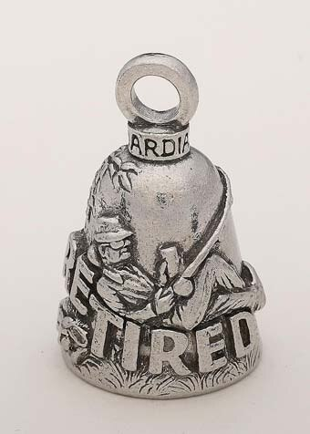 Retired Woman - Pewter - Motorcycle Guardian Bell® - Made In USA - SKU GB-RETIRED-W-DS