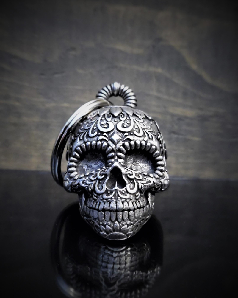 Sugar Skull - Pewter - Motorcycle Ride Bell - Made In USA - SKU BB24-DS