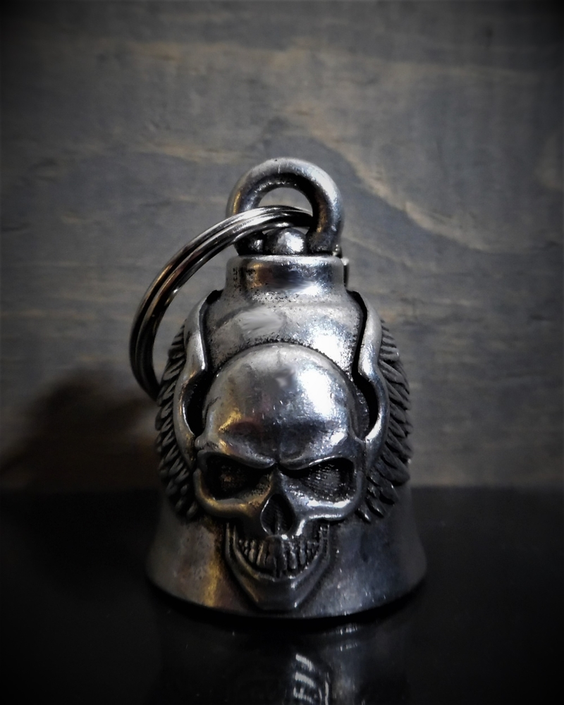 Skull Up Wings - Pewter - Motorcycle Ride Bell - Made In USA - SKU BB60-DS
