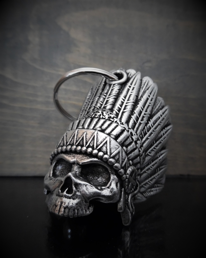 Indian Skull - Pewter - Motorcycle Spirit Bell - Made In USA - SKU BB69-DS