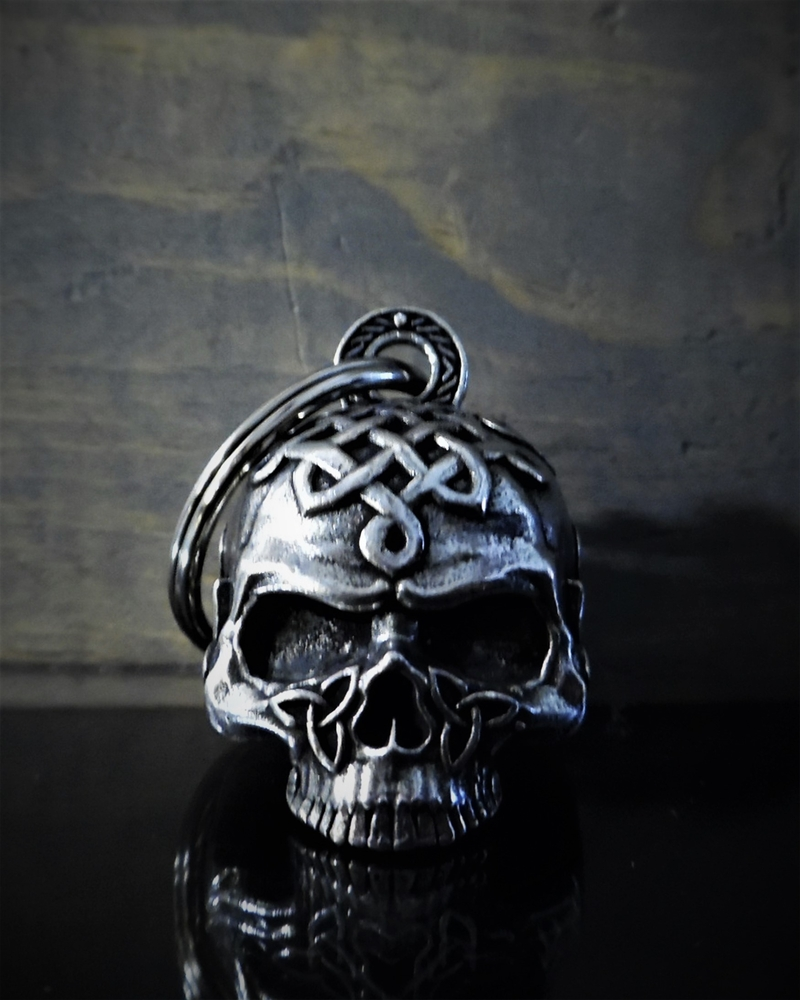 Celtic Skull - Pewter - Motorcycle Spirit Bell - Made In USA - SKU BB70-DS