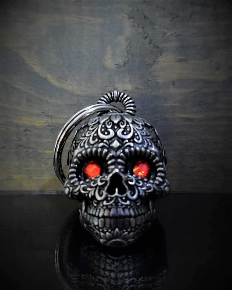 Sugar Skull Diamond - Pewter - Motorcycle Spirit Bell - Made In USA - SKU BB77-DS