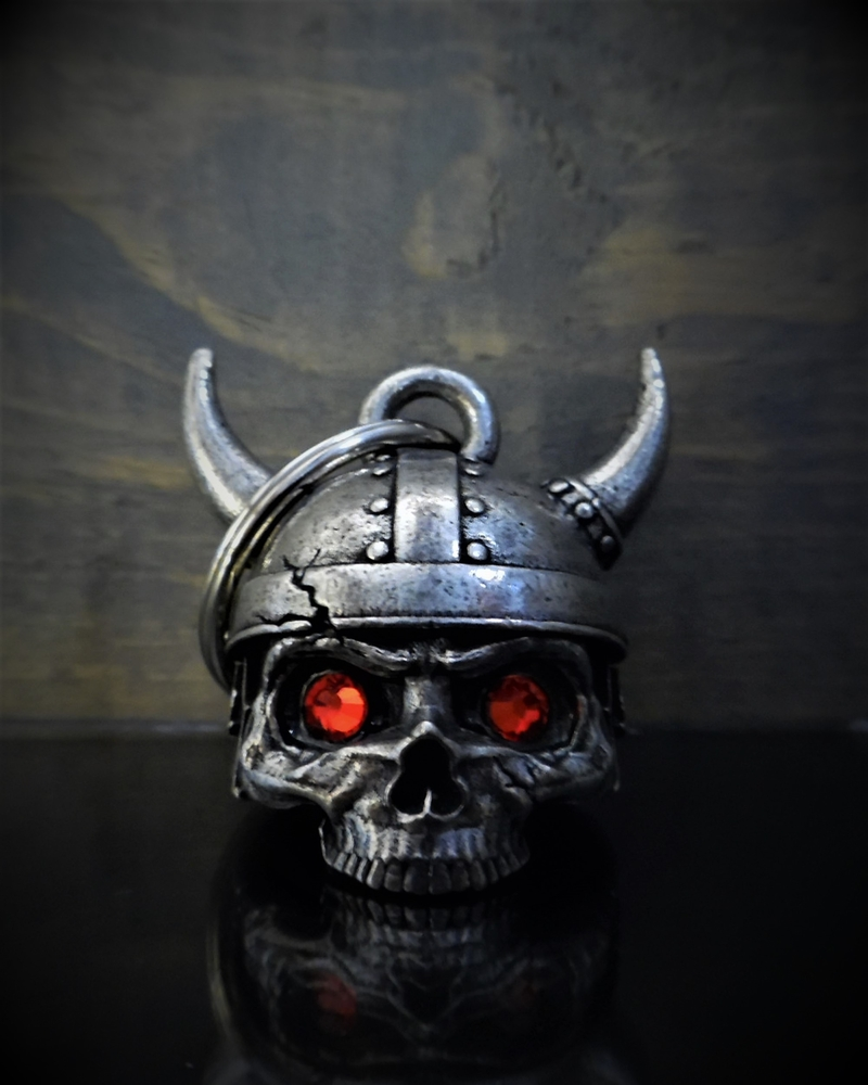 Viking Helmet Skull Diamond - Pewter - Motorcycle Spirit Bell - Made In USA - SKU BB78-DS