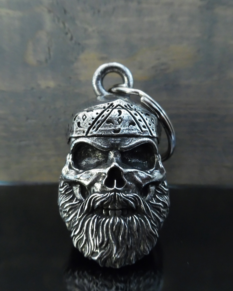 Old School Biker Skull - Pewter - Motorcycle Gremlin Bell - Made In USA - SKU BB96-DS