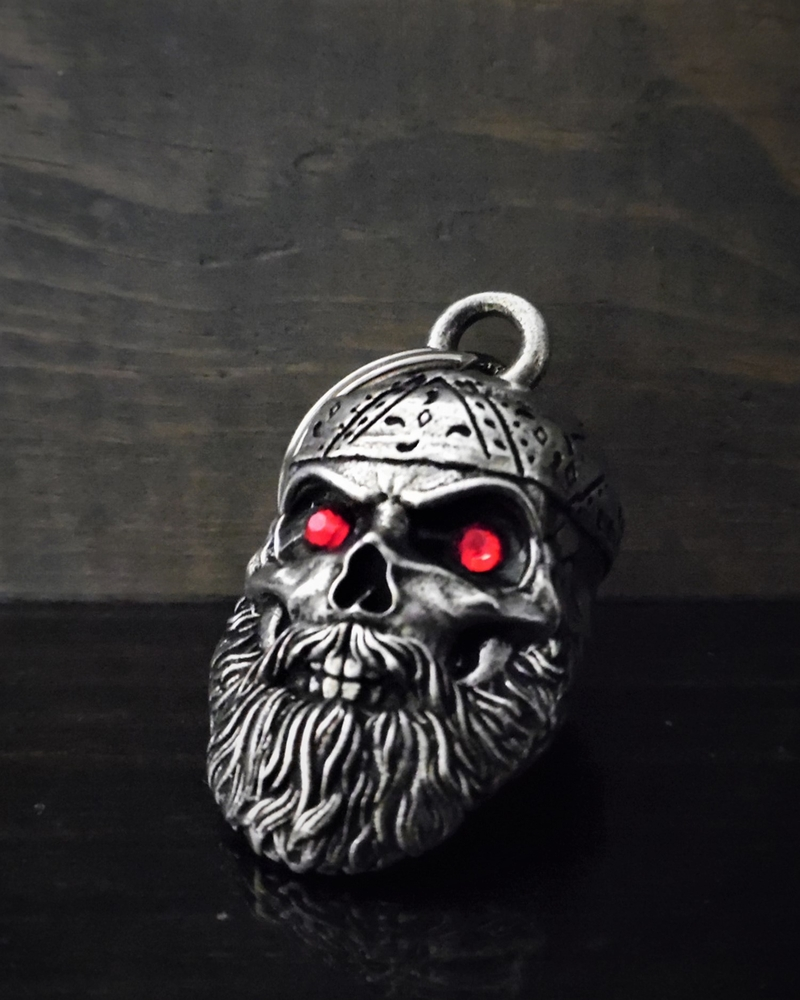Old School Biker Skull Diamond - Pewter - Motorcycle Gremlin Bell - Made In USA - SKU BB97-DS