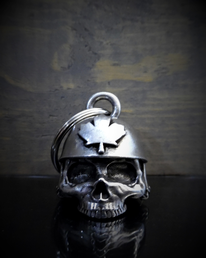 Canadian Helmet Skull - Pewter - Motorcycle Gremlin Bell - Made In USA - SKU BB51-DS