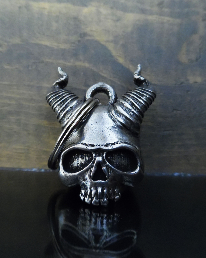 Hell Skull - Pewter - Motorcycle Gremlin Bell - Made In USA - SKU BB80-DS