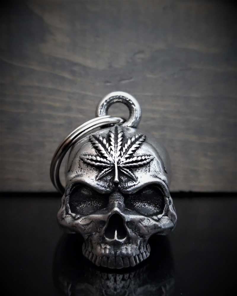 Pot Head Skull - Pewter - Motorcycle Gremlin Bell - Made In USA - SKU BB93-DS