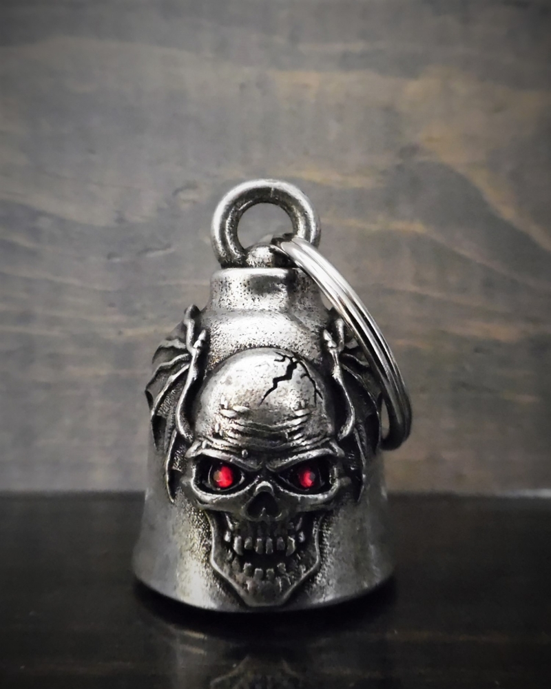Skull Batwing Diamond - Pewter - Motorcycle Gremlin Bell - Made In USA - SKU BB103-DS