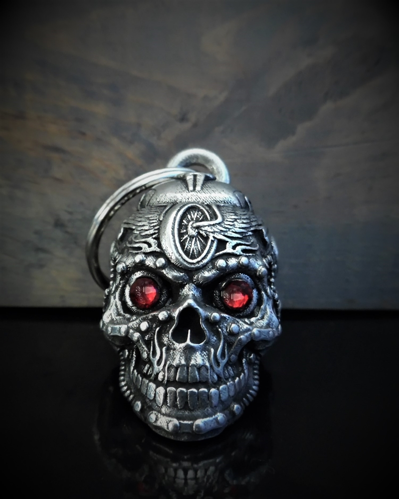 Motorhead Skull Diamond - Pewter - Motorcycle Gremlin Bell - Made In USA - SKU BB112-DS