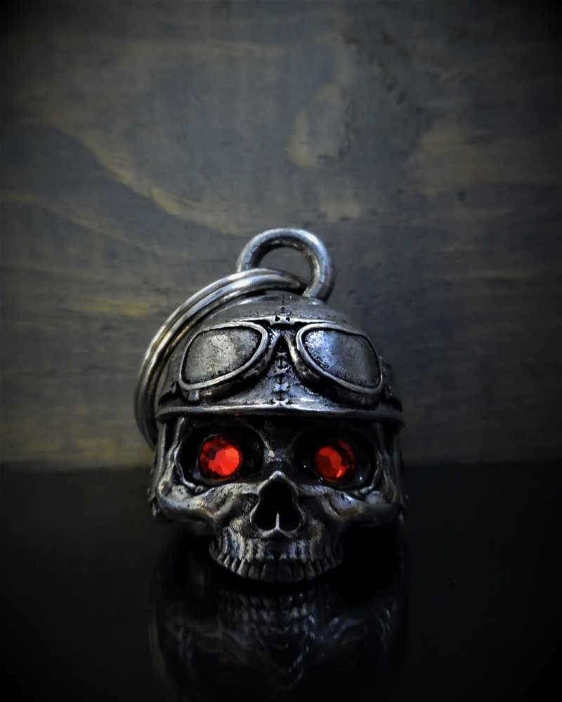 Motorcycle Helmet Skull Diamond - Pewter - Motorcycle Gremlin Bell - Made In USA - SKU BB76-DS