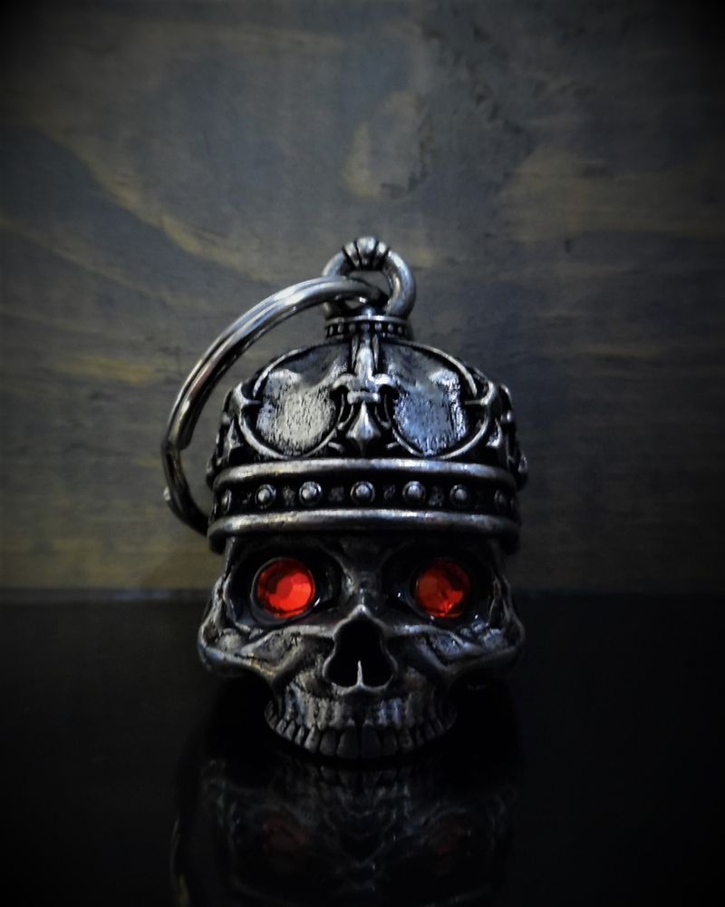 King Skull Diamond - Pewter - Motorcycle Gremlin Bell - Made In USA - SKU BB75-DS