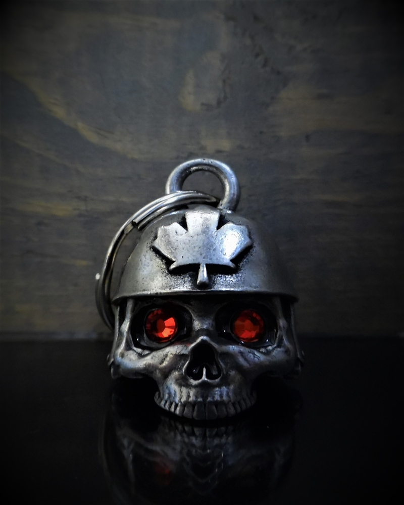 Canadian Helmet Skull Diamond - Pewter - Motorcycle Gremlin Bell - Made In USA - SKU BB71-DS