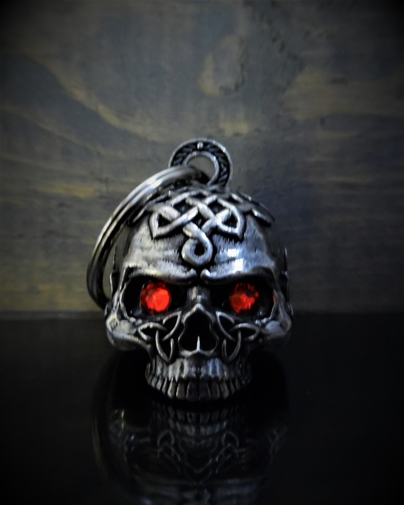 Celtic Skull Diamond - Pewter - Motorcycle Gremlin Bell - Made In USA - SKU BB72-DS
