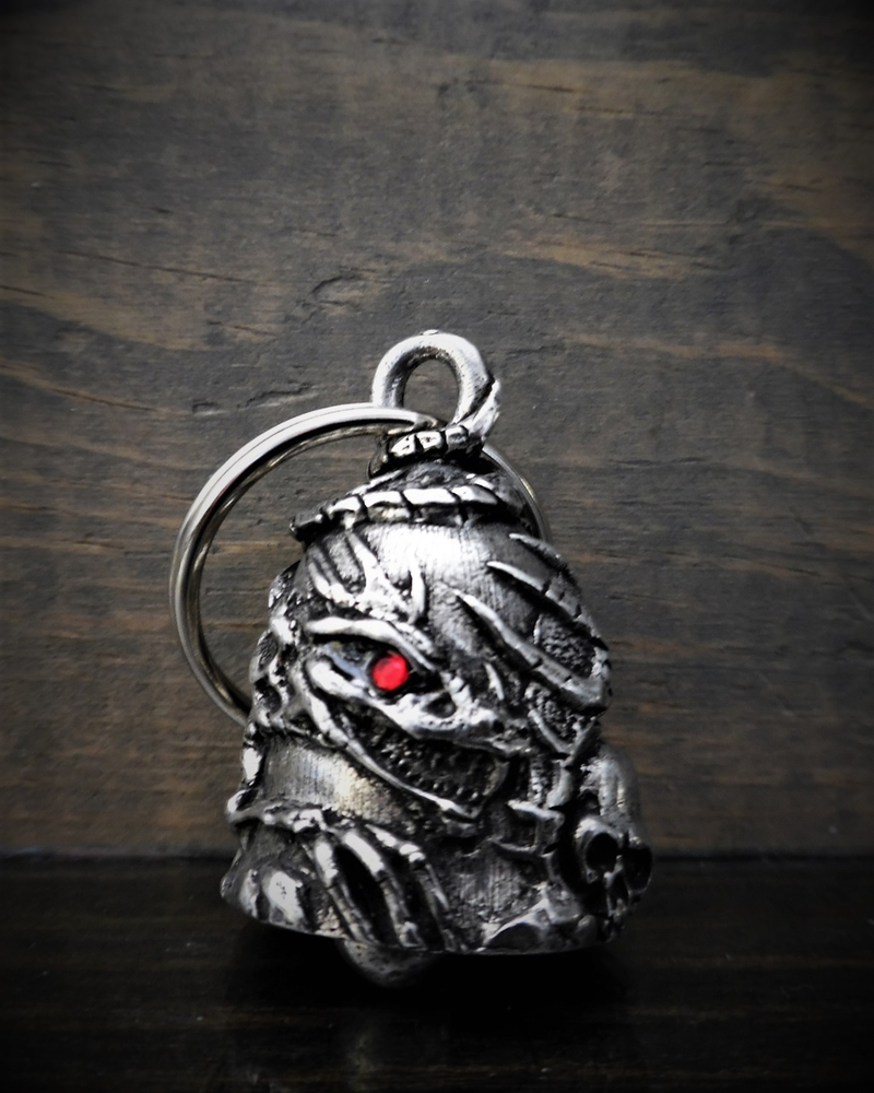 Skull Dragon Diamond - Pewter - Motorcycle Gremlin Bell - Made In USA - SKU BB101-DS