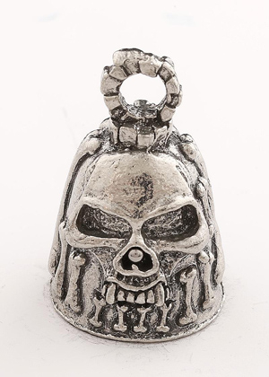 Bones - Skull - Pewter - Motorcycle Guardian Bell - Made In USA - SKU GB-BONES-DS