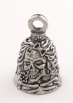 Lady Skull - Pewter - Motorcycle Guardian Bell® - Made In USA - SKU GB-LADY-SKUDS