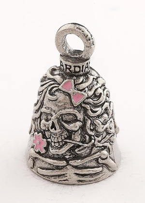 Lady Skull With Pink Bow & Flowers - Pewter - Motorcycle Guardian Bell® - Made In USA - SKU GB-LADY-SKUW-DS